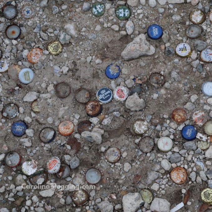 Winnies Tavern Bottle Caps Parking Lot - CarolinaBlogging
